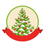 Christmas Winter Label Icon with Decoration Evergreen Tree Royalty Free Stock Images