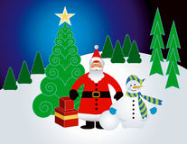 Christmas winter landscape. Santa and snowman in a winter landscape Royalty Free Stock Image