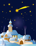 Christmas_winter_landscape. Christmas winter Landscape in Central Europe with Bethlehem star.Vector illustration Royalty Free Stock Photo
