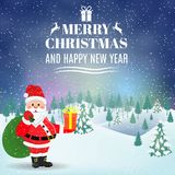 Christmas winter landscape background. New year and Christmas winter landscape background with Santa Claus with gift bag. Vector illustration Stock Images