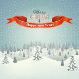 Christmas winter landscape background. New year and Christmas winter landscape background. Vector Royalty Free Stock Photo