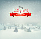 Christmas winter landscape background. Vector Stock Photos