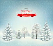 Christmas winter landscape background. Vector Stock Image