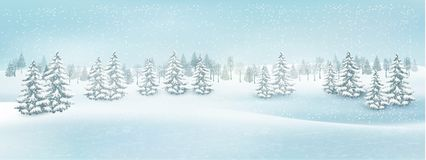 Christmas winter landscape background. Vector Royalty Free Stock Photo