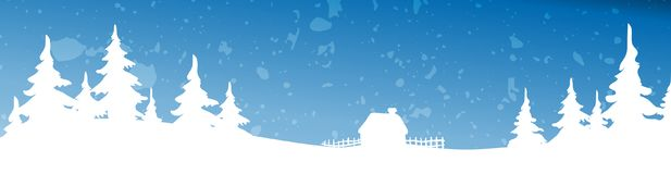 Christmas winter landscape background. Vector background illustration. With snowfall Stock Images