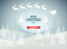 Christmas winter landscape background. Vector. Illustration Royalty Free Stock Photos