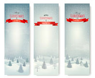 Christmas winter landscape banners. Vector Stock Photography