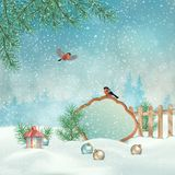 Christmas Winter Landscape. With a birds, Christmas tree, vintage sign wood board and decorations. Winter snowy background Stock Photos