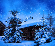 Christmas winter landscape Royalty Free Stock Photo