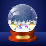 Christmas winter landscape globe. With snow house forest inside vector illustration Stock Photos