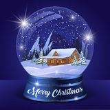 Christmas Winter Landscape Globe. With snow house forest mountains and stars inside isolated vector illustration Royalty Free Stock Image
