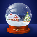 Christmas winter landscape globe Royalty Free Stock Images