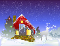 Christmas winter landscape with house, reindeer and silhouettes of trees Royalty Free Stock Photos