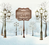 Christmas winter landscape with lampposts Royalty Free Stock Images