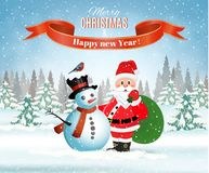 Christmas winter landscape. New year and Christmas winter landscape background with Santa Claus with gift bag and snowman. Vector illustration Stock Image