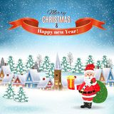 Christmas winter landscape. New year and Christmas winter landscape background with Santa Claus with gift bag. Vector illustration. concept for greeting or Stock Photos