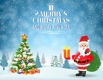 Christmas winter landscape. New year and Christmas winter landscape background with Santa Claus with gift bag and christmas tree, giftbox. Vector illustration Royalty Free Stock Photos