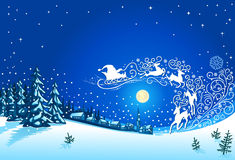 Christmas Winter Landscape with Santa Sleigh Ornament Royalty Free Stock Photo