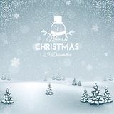 Christmas winter landscape with snowflakes Royalty Free Stock Image