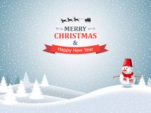 Christmas Winter Landscape. With snowman, trees and santa claus riding on a reindeer Stock Images
