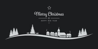 Christmas winter landscape village black background Royalty Free Stock Images