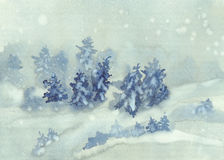 Christmas winter landscape watercolor. Background with snow and trees Stock Photos