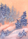 Christmas winter landscape watercolor orange. Christmas winter landscape watercolor background with snow and trees Royalty Free Stock Photos