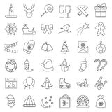 Christmas and winter line icons set in single color. Stock Photo