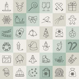 Christmas and winter line icons set in single color. Royalty Free Stock Photos