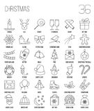 Christmas and winter line icons set in single color. Royalty Free Stock Photography