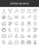Christmas and winter line icons set in single color. Stock Images