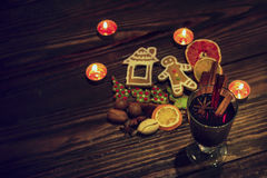 Christmas winter mulled wine and cookies stock photography