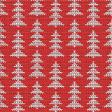 Christmas, winter or New Year knitted background. Knitted Christmas, winter or New Year background with silver pine or fir trees on red, plus seamless pattern vector illustration