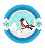 Christmas Winter and New Year Label Icon with Bullfinch and Moun Stock Photo