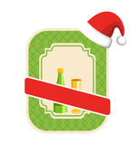 Christmas Winter and New Year Label Icon with Sparkling Wine and Royalty Free Stock Photos