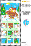 Christmas, winter or New Year picture riddle with owl - what does not belong?. Christmas, winter or New Year visual logic puzzle with owl and garland: What of vector illustration