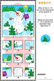 Christmas, winter or New Year picture riddle with snowman - what does not belong?. Christmas, winter or New Year visual logic puzzle with snowman: What of the 2 Royalty Free Stock Photography