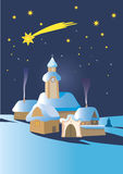 Christmas winter night. Landscape in Central Europe with Bethlehem star.Vector illustration Royalty Free Stock Photos