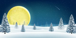 Christmas winter night hill forest with big moon. A christmas winter night hill forest with big moon vector illustration