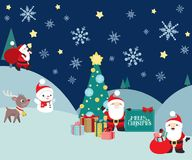 Christmas winter night scene with Santa Claus and presents. A winter scene with Santa Claus in different poses, with snowman and reindeer and a Christmas tree Royalty Free Stock Photography