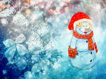 Christmas greetings, festive background for the images. Christmas: winter Park Snowman with gifts, trees covered with snow Stock Image