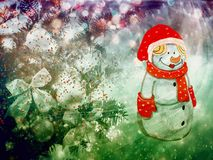 Christmas greetings, festive background for the images. Christmas: winter Park Snowman with gifts, trees covered with snow Royalty Free Stock Images