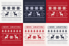 Christmas winter pattern print set for jersey or t-shirt. Pixel deers and christmas trees. Stock Photo