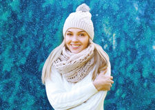 Christmas, winter and people concept - happy pretty smiling girl Royalty Free Stock Photos