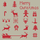 Christmas winter pixels. Christmas pixel style icons set, winter pattern pixels Royalty Free Stock Image