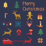 Christmas winter pixels. Christmas pixel style icons set, winter pattern pixels Stock Photography