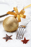 Christmas winter place setting Royalty Free Stock Photos
