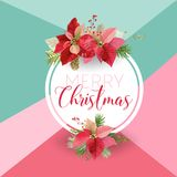 Christmas Winter Poinsettia Flower Banner, Graphic Background, Floral December Invitation, Flyer or Card. Modern Front Page. In Vector Royalty Free Stock Photos