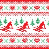Christmas, winter red and green seamless pattern - man skiing in mountains Stock Photography