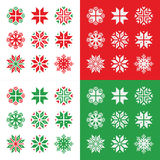 Christmas, winter red and green snowflakes  icons set Stock Photography